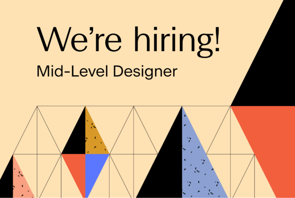 Text reads: We're Hiring! Mid-Level Designer. Image has a decorative background.